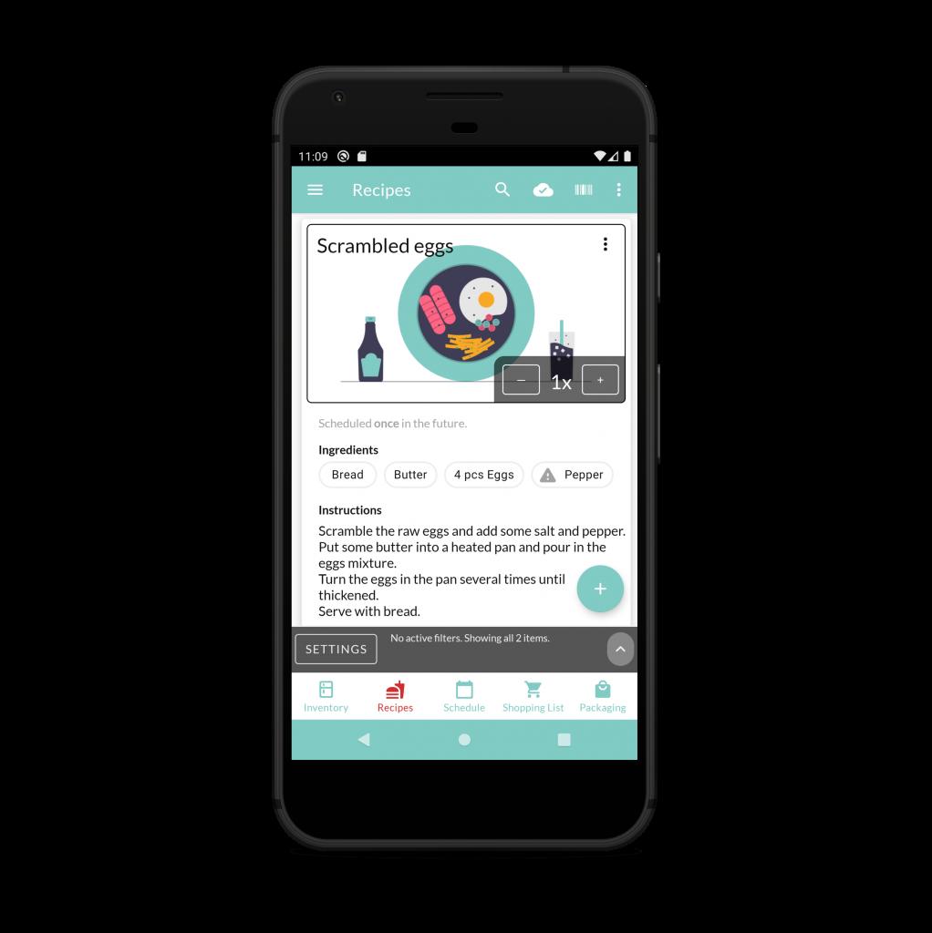 Screenshot of Recipes view, light mode