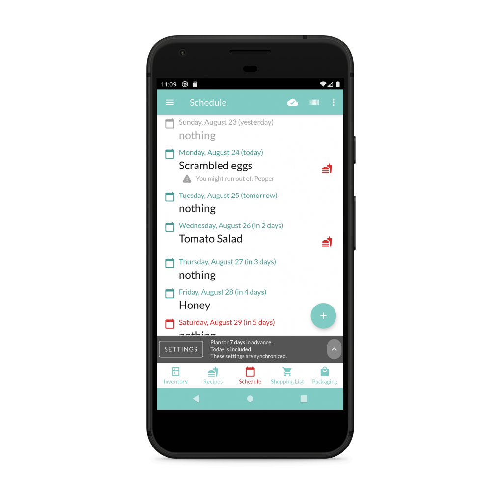 Screenshot of plan / schedule view